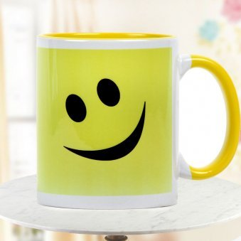 Smile White and Yellow Duotone Mug