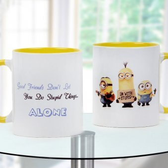 I am with stupid Quoted and Minions Printed Duotone Mug with Both Sided View