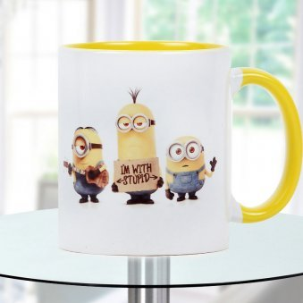 I am with stupid Quoted and Minions Printed Duotone Mug