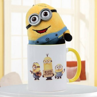 """I am with stupid"" quoted white and yellow duotone mug with 4 inch miniature teddy"