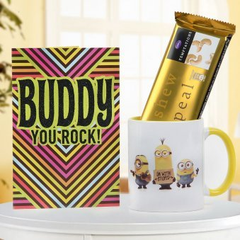 Buddy You Rock Plaque With White And Yellow Minion Mug Temptation Chocolate