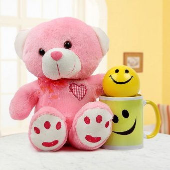 smile ball with smile white and yellow duotone mug and pink adorable teddy