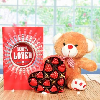 """12"""" Light Brown Teddy, a Large-sized Pink & Blue Greeting Card, 10 Heart-shaped Milk Chocolates"""