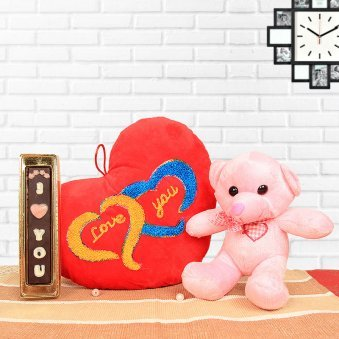 "6"" Pink Teddy Bear with a Yummy Bar of Milk Chocolate, wide Red and Violet ""Love"" Cushion"