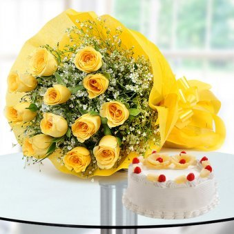 Heartful Wishes - Combo of 12 yellow roses bunch and a half kg pineapple cake