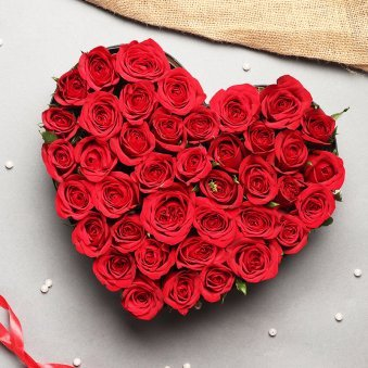 Hey Ya ! Basket of 35 Heart Shaped Red rose flowers - delivery in Delhi