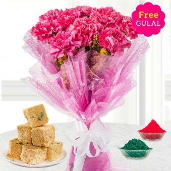 Carnation flowers bouquet and Soan Papri with gulal for Holi