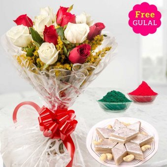 Holi combo of white and red rose flowers bouquet with Kaju kathli and gulal