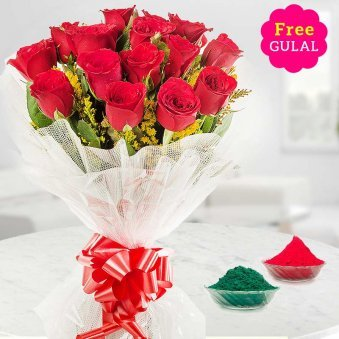 Holi bouquet of Red roses with free Gulal