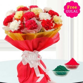 Holi flower - White, yellow and red flowers bunch with free gulal