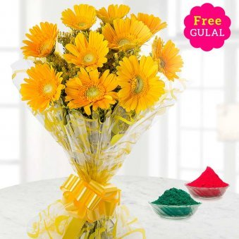 Holi flower - Yellow Gerberas bunch with free gulal