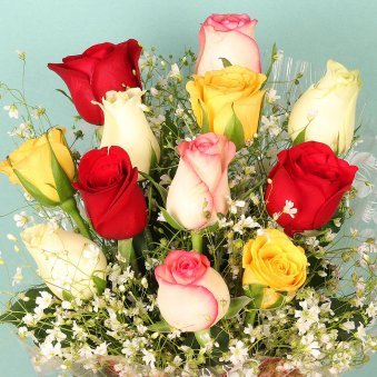 12 Mixed Color Roses Bunch with Top View