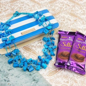 Blue Clutch Purse with Neckpiece and Cadbury Silk