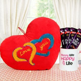 heart shape cushion with 2 silk and mug