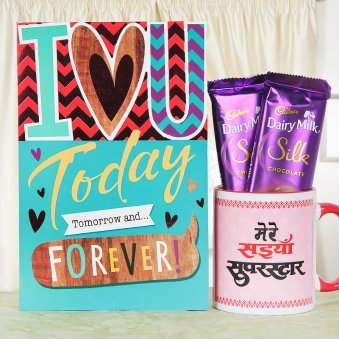Red Ceramic Mug with Love You Teddy and 2 Dairy Milk Silk