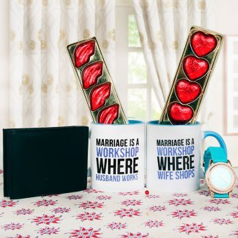 Workshop Mug with 10 Chocolates Men Wallet 10 Heart and Lip Shaped Chocolates and a Watch