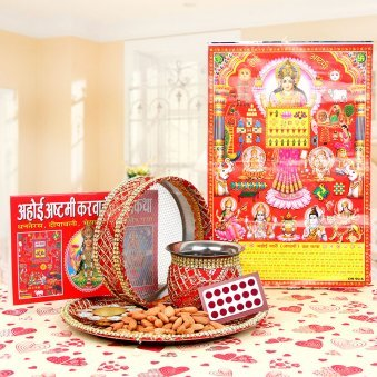 karva Chauth Sargi Thali With Suhag Essentials, Karva Chauth Book and Calender