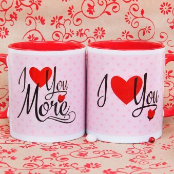 I Love You More Mugs with Hearts Print