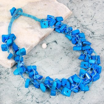 Blue Square Beaded Neckpiece