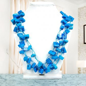 Blue Square Beaded Neckpiece with Nice View