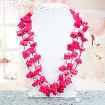 Pink Colored Square Bead Necklace with Nice View