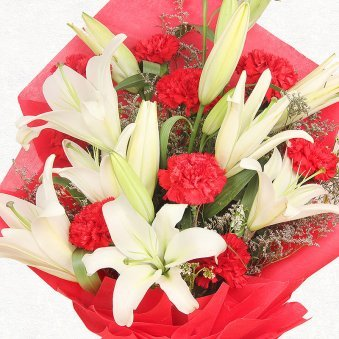 3 White Lilies and 10 Red Carnations in Zoomed View