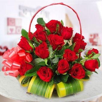 A basket of 30 Red Roses sent with a lovely ribbon wrapped with the basket