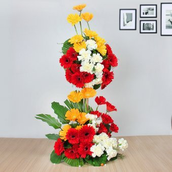 20 Red Gerberas 15 White Carnations and 15 Yellow Gerberas in Arrangement