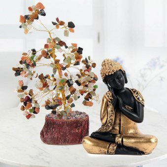 God idol of Lord Buddha with real crystal in tree shape design - A great combo