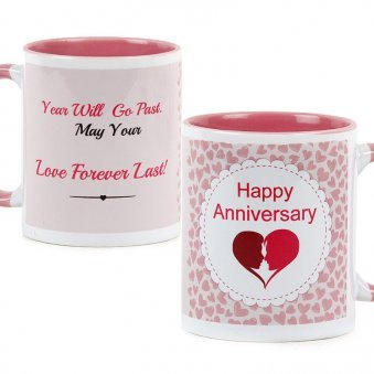 Happy Anniversary Couple Mug with Both Sided View