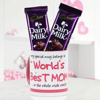 World's best mom mug with 2 dairy milk chocolate for Mothers day