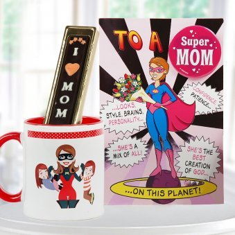 Super mom combo - I love mom handmade chocolate with super mom mug and greeting
