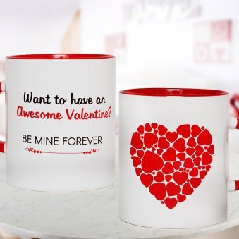 White Mug with Small Red Hearts Collage with Both Sided View