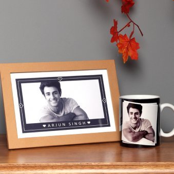 Personalised Wooden Frame with Mug Combo