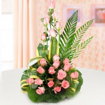 Front view of 20 pink rose arrangement - A gift of Beary Love