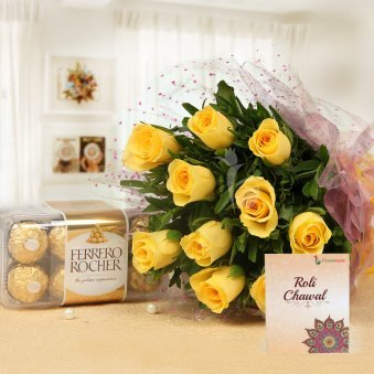 Eye Candy - Combo of 12 Yellow roses and 16 Ferrero Rocher chocolates