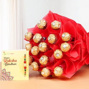 Express Rakhi Bonanza - Combo of Rakhi with Ferrero Rocher chocolate bouquet and Roli tikka