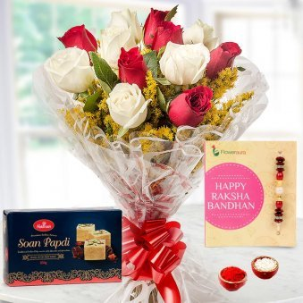 Rakhi with 20 Red and 20 White Roses, Soan Papdi
