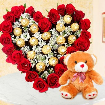 Rocher Love Hamper - Heart Shaped Ferrero Rocher Bouquet and Teddy combo