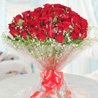 Bunch of 50 beautifully wrapped roses with Front View