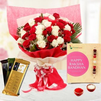 Rakhi along with 50 red and white roses and 3 Temptation chocolates