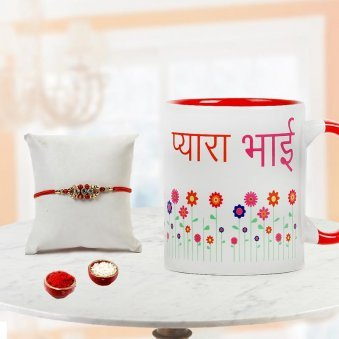 Send Rakhi to Gurgaon with Pyara Bhai Mug and Rolli Tikka