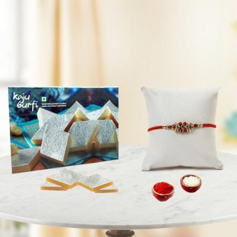 Send Rakhi to Gurgaon with 1/2kg Kaju Katli and Rolli tikka