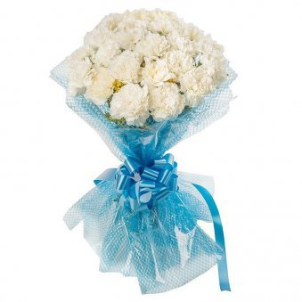 20 White Carnations Bunch with Oblique View