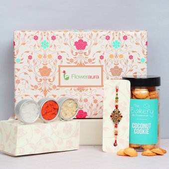 Rakhi with Cookies, Roli Chawal and Signature Box