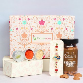 Peacock Rakhi with Coco Cookies and Signature Box