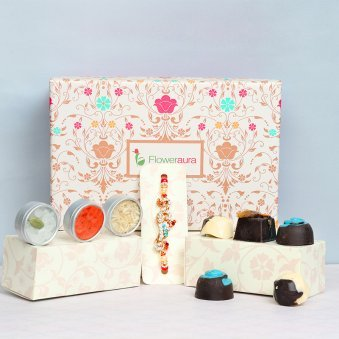 Rakhi with 6 Almond Handmade Chocolates, Roli Chawal and Signature Box