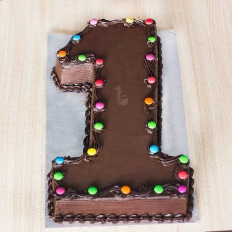 1st Year Number Chocolate Cake For Kids Birthday