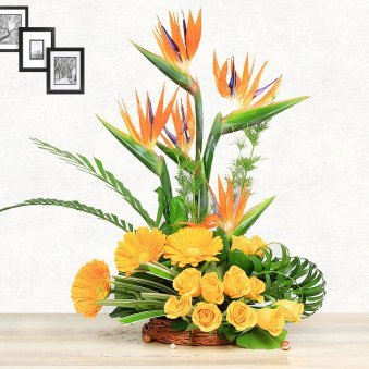 Orange and Yellow Blooms in Basket