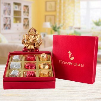 Sweetest Charm Diwali Gift - Ganesha Statue and Box of 9 Homemade Chocolates